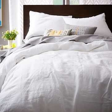 Belgian Linen Duvet Cover, Full/Queen, White - West Elm