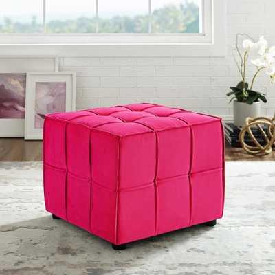 Loft Lyfe Nitudra Pink Velvet Ottoman with Upholstered - Home Depot