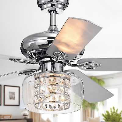 Cayten 5-Blade 52-Inch Chrome Lighted Ceiling Fans with Crystal Shade (Remote - eBay