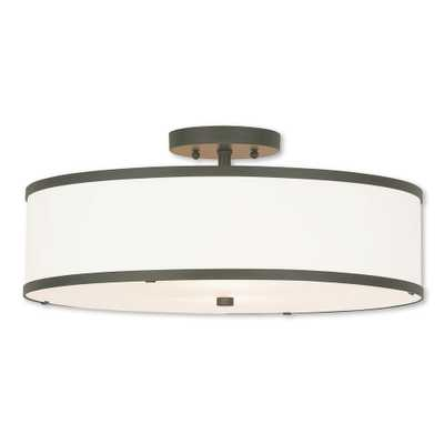 Livex Lighting Park Ridge 3-Light Bronze Semi-Flushmount - Home Depot