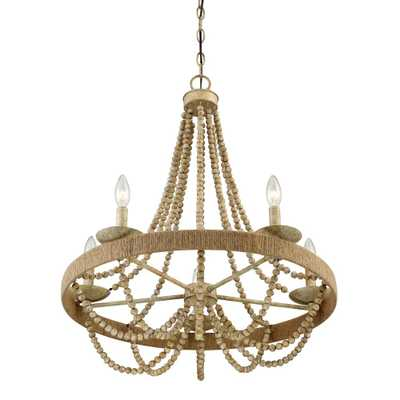 Filament Design 5-Light Natural Wood with Rope Chandelier - Home Depot