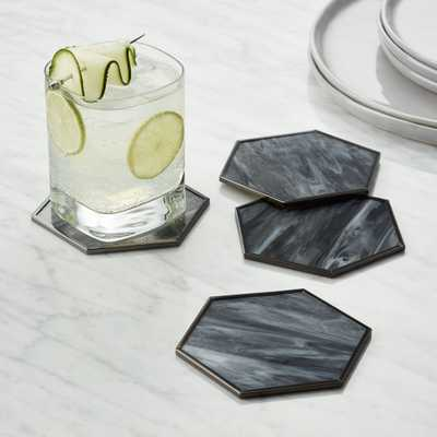 Hex Glass Coasters, Set of 4 - Crate and Barrel