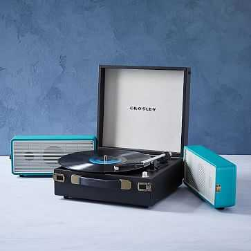 Crosley Snap Record Player, Black + Teal - West Elm