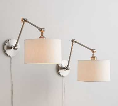 PB Classic Articulating Sconce Kit, Nickel + Emery Linen Shade, White, Set of 2 - Pottery Barn