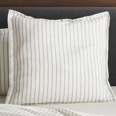 Linen Wide Stripe Warm White Euro Pillow Sham - Crate and Barrel