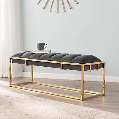 Mercer41 Nantucket Upholstered Bench: Brass - eBay