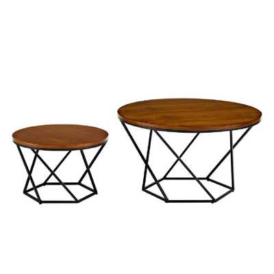Geometric Wood Nesting Coffee Tables in Walnut and Black, Black/Brown - Home Depot