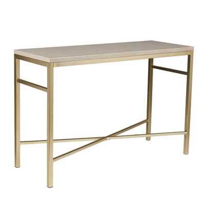 Nellie Matte Brass Faux Stone Tavertine Console Table, Faux Travertine And Matte Brass Finish - Home Depot