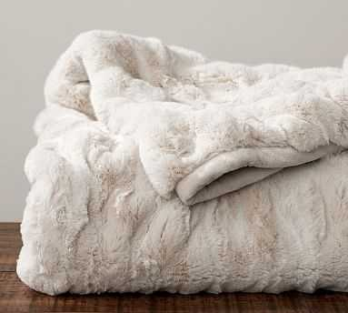 "Faux Fur Ruched Throw, 50 x 60"", Ivory - Pottery Barn"