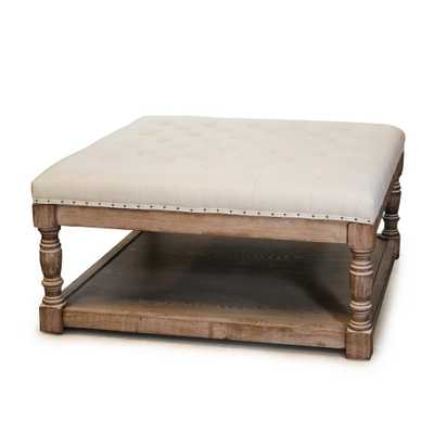 Cairona Cream (Ivory) Tufted Ottoman - Home Depot