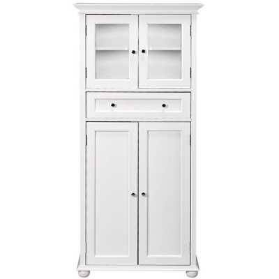 Home Decorators Collection Hampton Harbor 25 in. W x 14 in. D x 52-1/2 in. H Linen Cabinet with Drawer in White - Home Depot