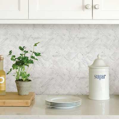 White Herringbone Carrara Peel Stick Backsplash Tiles, Whites - Home Depot
