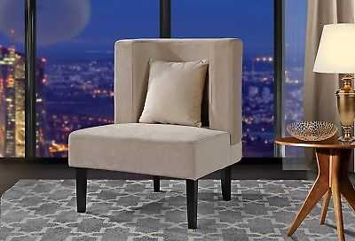 Accent Chair for Living Room, Armless Velvet Chair with Curved Backrest, Beige - eBay