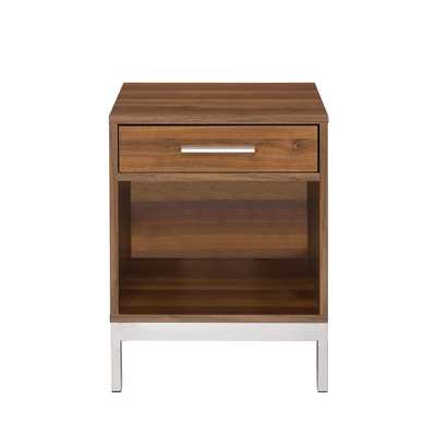 Sterret Silver and Walnut Nightstand - Home Depot