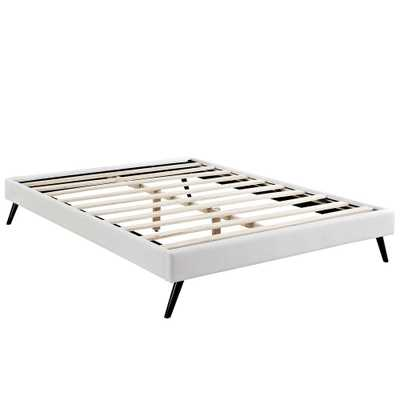 Loryn White Full Bed Frame with Round Splayed Legs - Home Depot