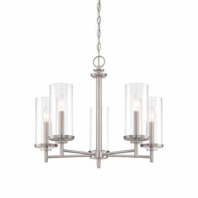 Hampton Bay 5-Light Brushed Nickel Chandelier with Clear Glass Shades - Home Depot