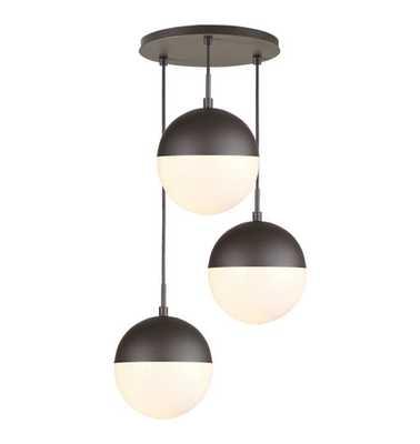 "Cedar & Moss Globe 8"" 3-Light Multipendant - Rejuvenation"
