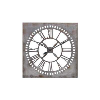 Houston 39.25 in. x 39.25 in. Square Iron Wall Clock, Silver - Home Depot