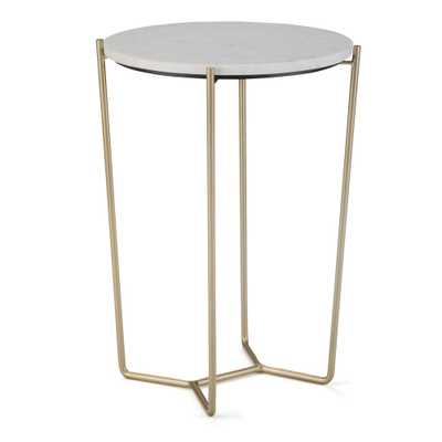 Simpli Home Dani White and Gold Accent Table - Home Depot