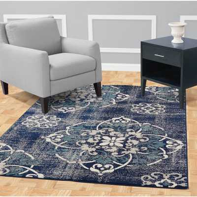 Jasmin Collection Contemporary Medallion Design Navy and Ivory 8 ft. x 10 ft. Area Rug - Home Depot