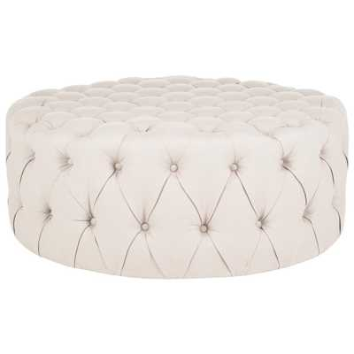 Charlene Taupe Tufted Ottoman - Home Depot
