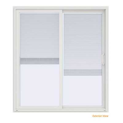 JELD-WEN 72 in. x 80 in. V-4500 Contemporary White Vinyl Right-Hand Full Lite Sliding Patio Door w/Blinds - Home Depot
