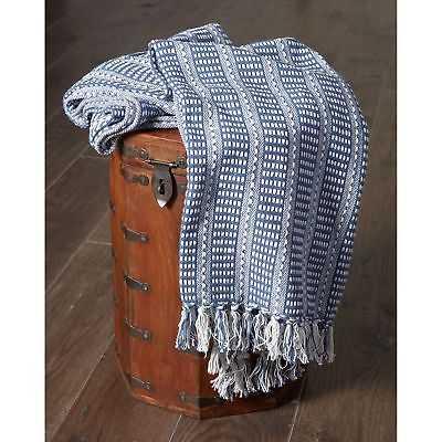 "LR Home Flynn Woven Cotton Blue Throw Blanket ( 50"" x 60"" ) - eBay"