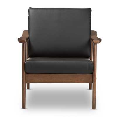 """Venza Black/""""Walnut"""" Brown Faux Leather Lounge Chair - Home Depot"""
