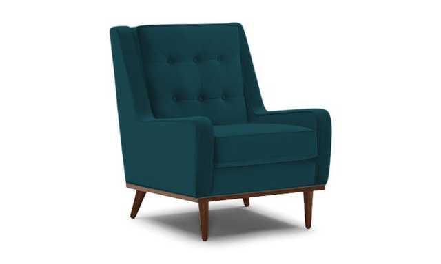 Blue Brice Mid Century Modern Chair - Royale Peacock  - Mocha - Joybird