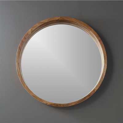 """acacia wood 24"""" wall mirror - CB2"""