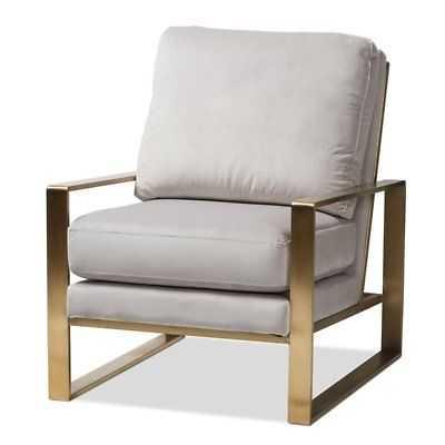 Baxton Studio Mietta Grey Velvet Fabric Gold Finished Lounge Chair - eBay