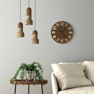 Pinnacle Plank Galvanized Metal Numbers Brown Wall Clock - Home Depot