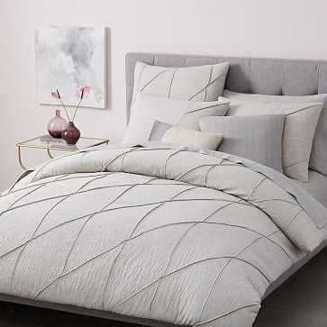 Organic Pleated Grid Duvet, King, Light Gray - West Elm