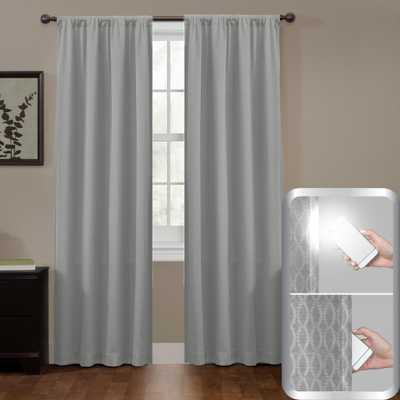 Maytex Blackout Jamie Smart 50 in. W x 84 in. L Curtain Window Curtain Panel in Grey - Home Depot