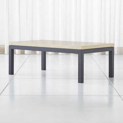 Parsons Travertine Top/ Dark Steel Base 48x28 Small Rectangular Coffee Table - Crate and Barrel