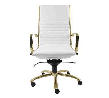Fowler High Back Desk Chair, White/Gold - Pottery Barn