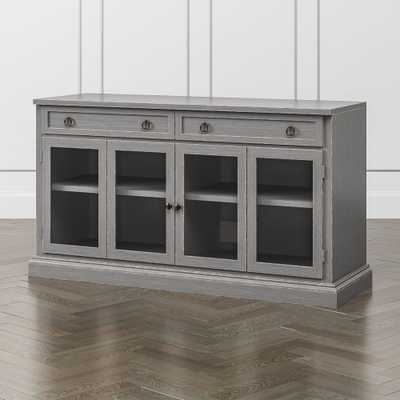 "Cameo 62"" Grigio Modular Media Console with Glass Doors - Crate and Barrel"