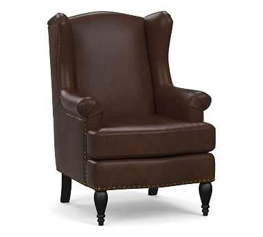 SoMa Delancey Leather Wingback Armchair, Polyester Wrapped Cushions, Mocha - Pottery Barn