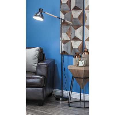 26 in. x 60 in. Modern Bell-Shaped Metallic Black Floor Task Lamp - Home Depot