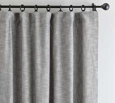 "Seaton Textured Drape, 50 x 96"", Gray Cotton Lining - Pottery Barn"