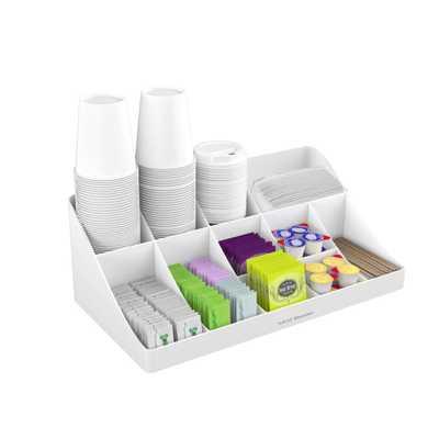 11-Compartment White Coffee Condiment Organizer - Home Depot