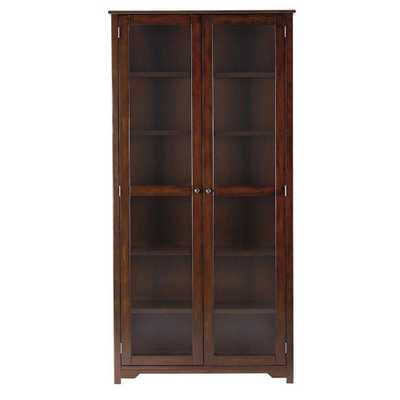 Oxford Chestnut (Brown) Glass Door Bookcase - Home Depot