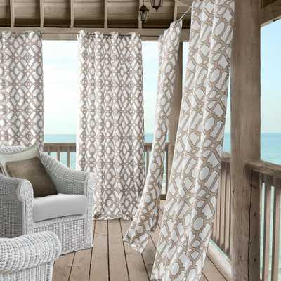 Elrene Marin 50 in. W x 108 in. L Polyester Indoor/Outdoor Single Window Curtain Panel in Natural - Home Depot