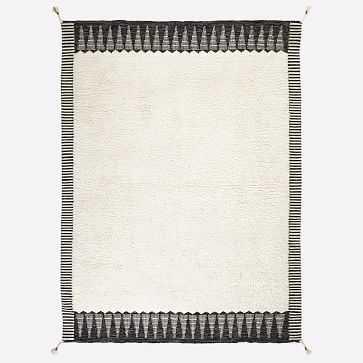 Ikat Border Shag Rug, Ivory, 8'x10' - West Elm