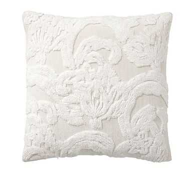 "Natalia Silk Jacquard Pillow Cover, 22"", Ivory - Pottery Barn"