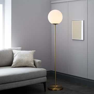 Globe Floor Lamp, Antique Brass/Milk - West Elm