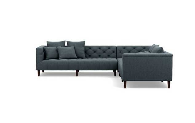 Ms. Chesterfield Corner Sectionals with Rain Fabric and Oiled Walnut legs - Interior Define