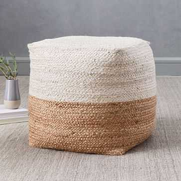 "Jute Colorblock Pouf, 16""x16""x17"", Natural - West Elm"