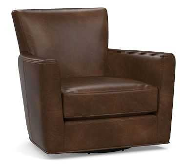 Irving Square Arm Leather Swivel Glider, Polyester Wrapped Cushions, Vintage Cocoa - Pottery Barn