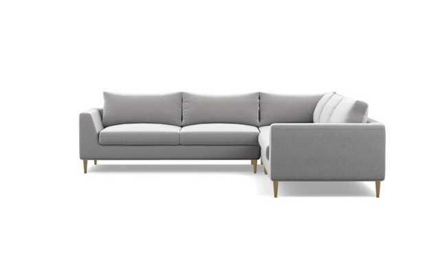 Asher Corner Sectional with Grey Ash Fabric and Brass Plated legs - Interior Define